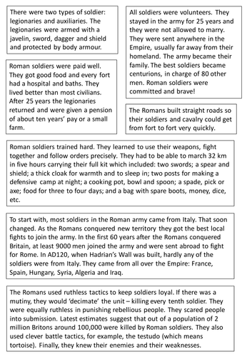 Why was the Roman army successful Worksheet