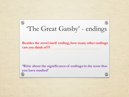 lesson timed essay the great gatsby a level english lesson 15 endings the great gatsby a level english literature scheme of work