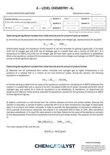 A-level Chemistry – SRQ Worksheet – Kc Calculations by ChemCatalyst ...