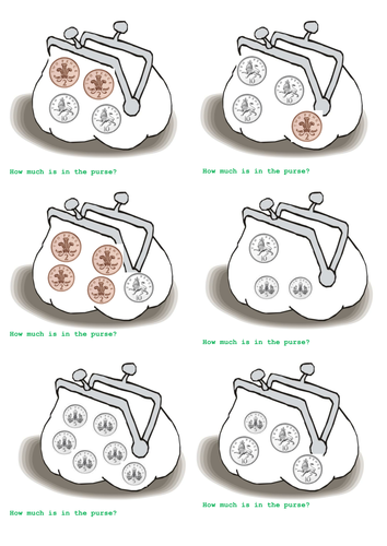 Money - adding coins 1p, 2p, 5p and 10p