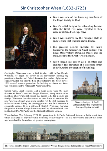 Restoration England: Sir Christopher Wren Fact File