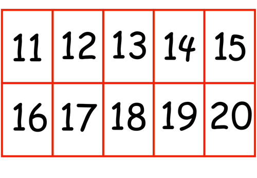 Number Cards 11 20 By Sandra Mewis Teaching Resources