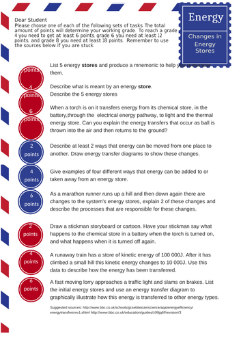 2018 Energy Stores Homework/Class work activity - fully differentiated