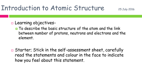 WJEC. Topic 2 -  Atomic Structure and the Periodic Table. New Spec (2016) Scheme of Work for GCSE