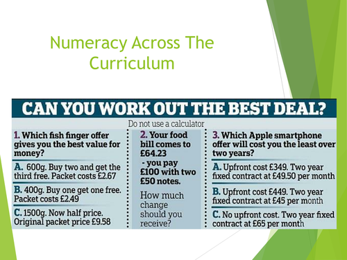 Numeracy Across the Curriculum Presentation by willwood233 ...