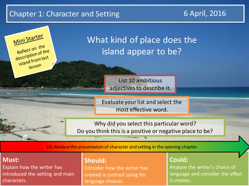 Lord of the Flies- Chapter 1 Character and Setting & Assessment