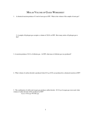 NUMBER OF MOLES AND MASS RELATIONSHIP WORKSHEET 4 by gbengagbang ...