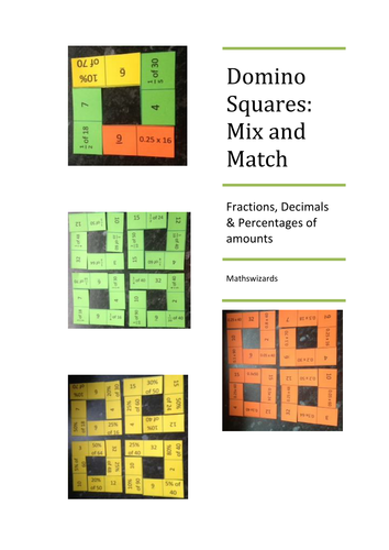 Domino Squares : Decimal, Fraction, Percentages Mix and Match