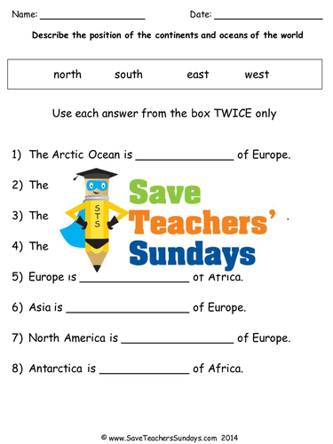 Continents and Oceans KS1 Lesson Plan, Map and Worksheet by ...