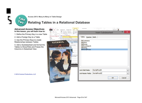 Microsoft Access 2013 Advanced: Tables 1- Tables in a Relational Database