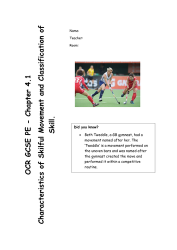 Chapter 4.1 - Skilful Movement/Classification of Skills (OCR GCSE PE 2016 Spec) REVISION RESOURCE
