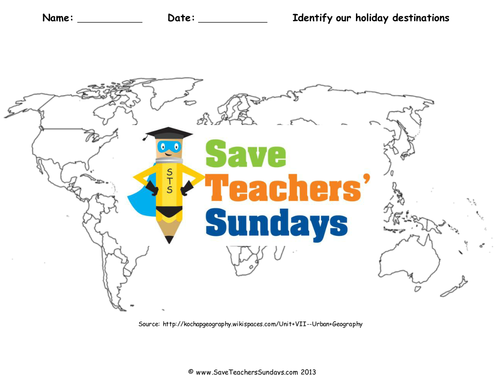 Save teachers sundays teaching resources tes our favourite holiday destinations ks2 lesson plan world map and worksheet gumiabroncs Gallery