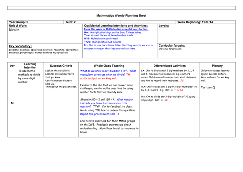 Year 5 - Division Planning Differentiated 5 Days