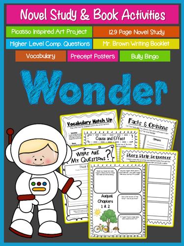 Wonder by R J  Palacio {Comprehension, Art, Writing, Vocabulary, & Bully  Bingo}
