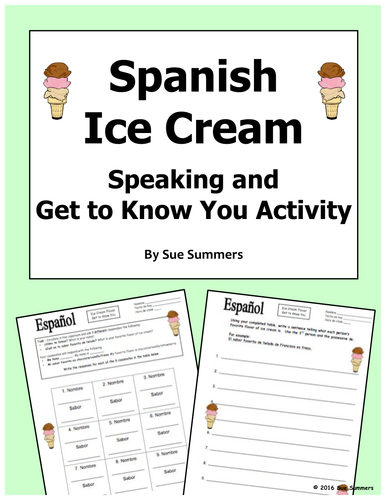 Spanish Speaking Activity / Get to Know You Activity - Helado Favorito