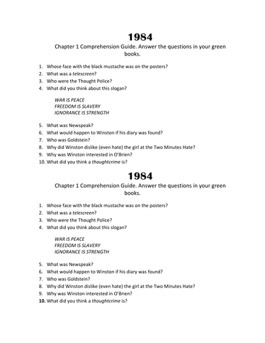 1984 Adapted Novel Grades 9-10 by langley835 | Teaching
