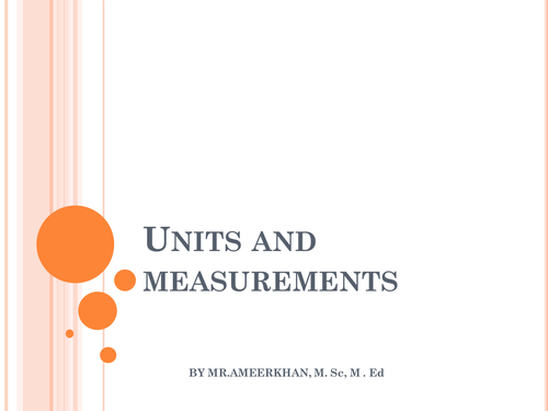 UNITS AND DIMENSIONS  POWER  POINT PRESENTATION
