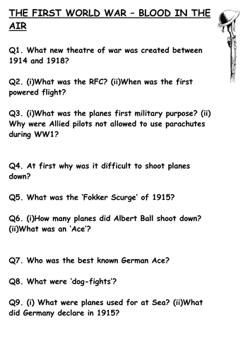 World War One In Colour Video Worksheets By Sfy773