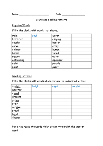 Sound and Spelling Patterns