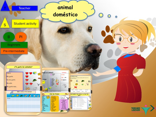 Spanish pets lesson with student booklet / Los animales
