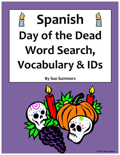 Spanish Day of the Dead / Dia de los Muertos Word Search & Vocabulary