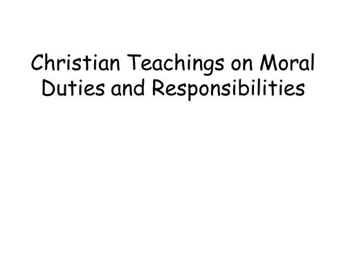 Christian teachings on moral responsibility