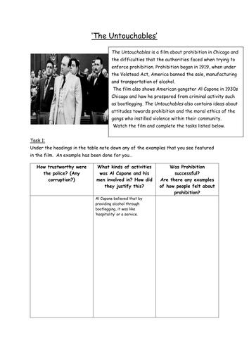 untouchables film worksheet prohibition al capone usa 1920s by allenk teaching resources. Black Bedroom Furniture Sets. Home Design Ideas