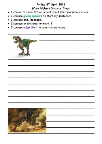 Year 2 literacy plan based around the tyrannosaurus rex