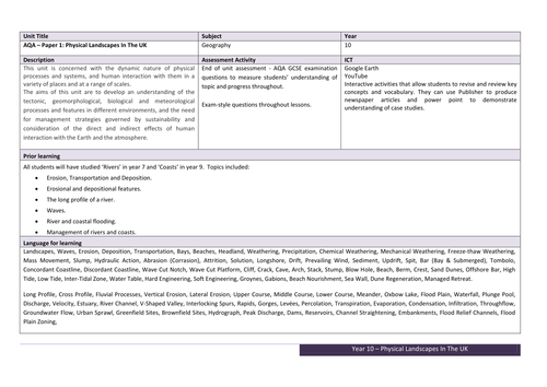 NEW AQA GCSE GEOGRAPHY - Physical Landscapes In The UK -  Scheme Of Work & Unit Plan