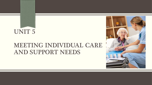 NEW Spec 2016 Level 3 Unit 5 Meeting Individual Care and support needs (second  Task on Assignment)