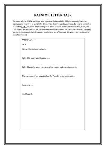 Palm Oil letter