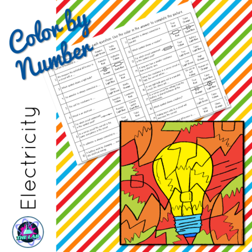 Electricity Color-by-Number by liezelpienaar - Teaching Resources - Tes