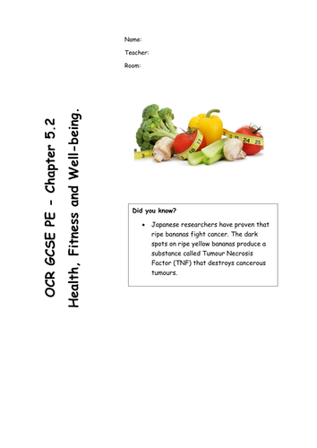 Chapter 5.2 Diet and Nutrition (OCR GCSE PE 2016 specification) REVISION RESOURCE