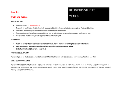 13 Lesson Scheme of work -Year 9 (Truth and Justice)