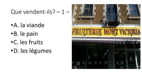 Que vendent-ils? What do these Montreal stores sell? French beginners.