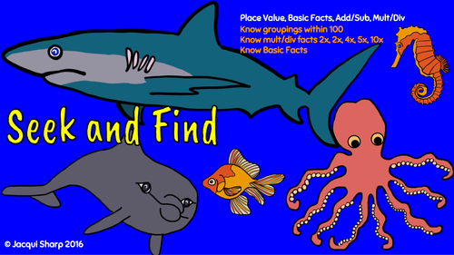 Seek and find the Sea Animals (Maths)
