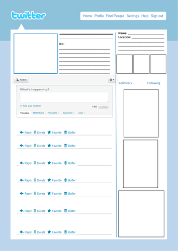 twitter page templates by allroundresources teaching resources tes