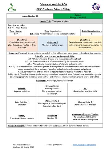 aqa biology synoptic essay plans