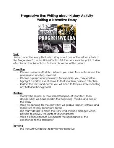 history teacher by day and by night shop teaching resources tes progressive era writing about history activity writing a narrative essay
