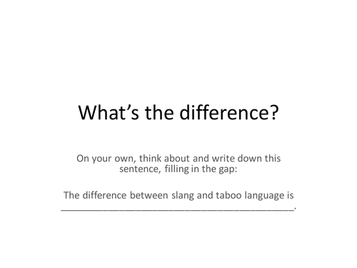 Directed Writing Task - Taboo language