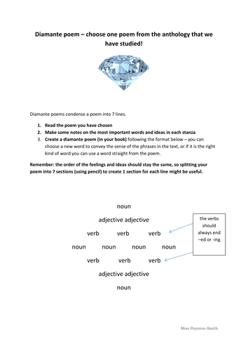 diamante poem guide worksheet by claire alexandra ps teaching resources. Black Bedroom Furniture Sets. Home Design Ideas
