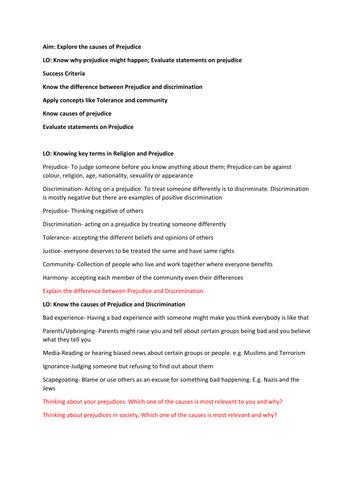 AQA RS GCSE SPEC B Unit 2 Religion and Prejudice Lessons
