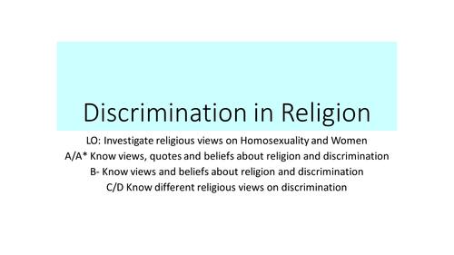 AQA RS GCSE SPEC B Unit 2 Religion and Prejudice - Religion Homosexuality and Sexism
