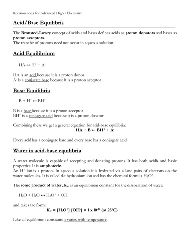 Acid-Base Equilibria notes (Bronsted-Lowery definition)