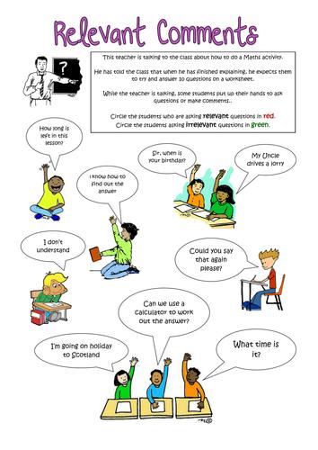 Relevant and Irrelevant Comments - worksheet, social skills, autism, SEN