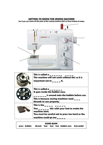 Name Sewing Machine Parts By Storry Teaching Resources Tes
