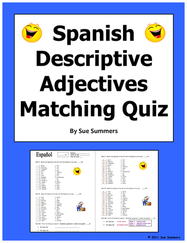 Spanish Adjectives Of People And Nounadjective Agreement Quiz By