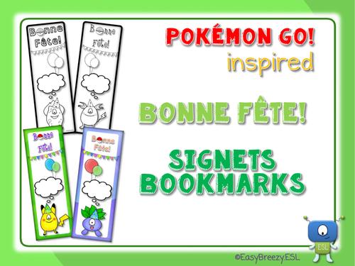 POKEMON GO! Inspired Bonne Fête SIGNETS Bookmarks (EDITABLE)