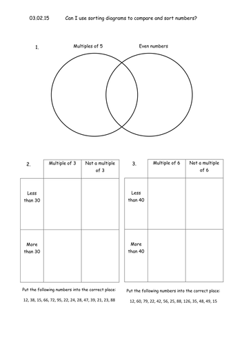 Multiples Venn Diagram Worksheet Factors Worksheets Printable