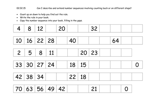 Counting Number worksheets sequences worksheets year 2 Free – Math Worksheets Patterns and Sequences